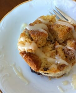 Bread Pudding with Hard Sauce Drizzle