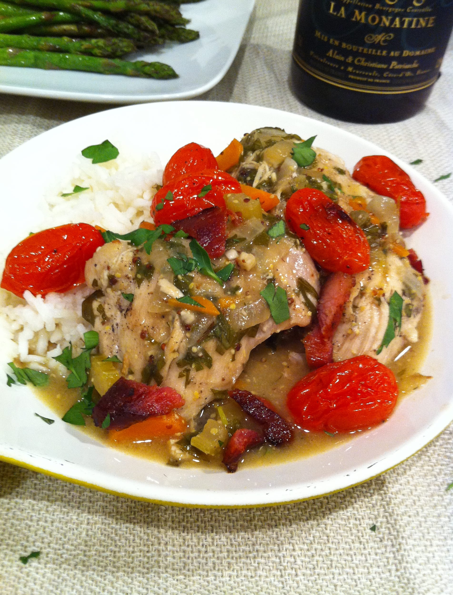 Chicken in wine sauce