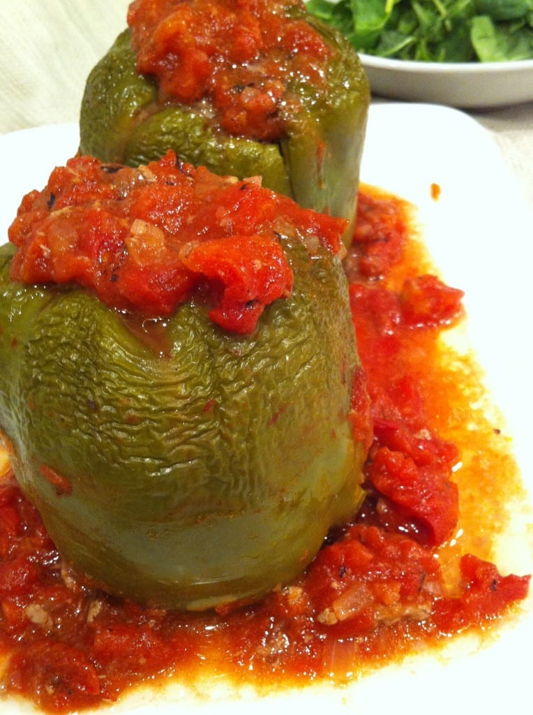 Creole Stuffed Peppers with tomato sauce