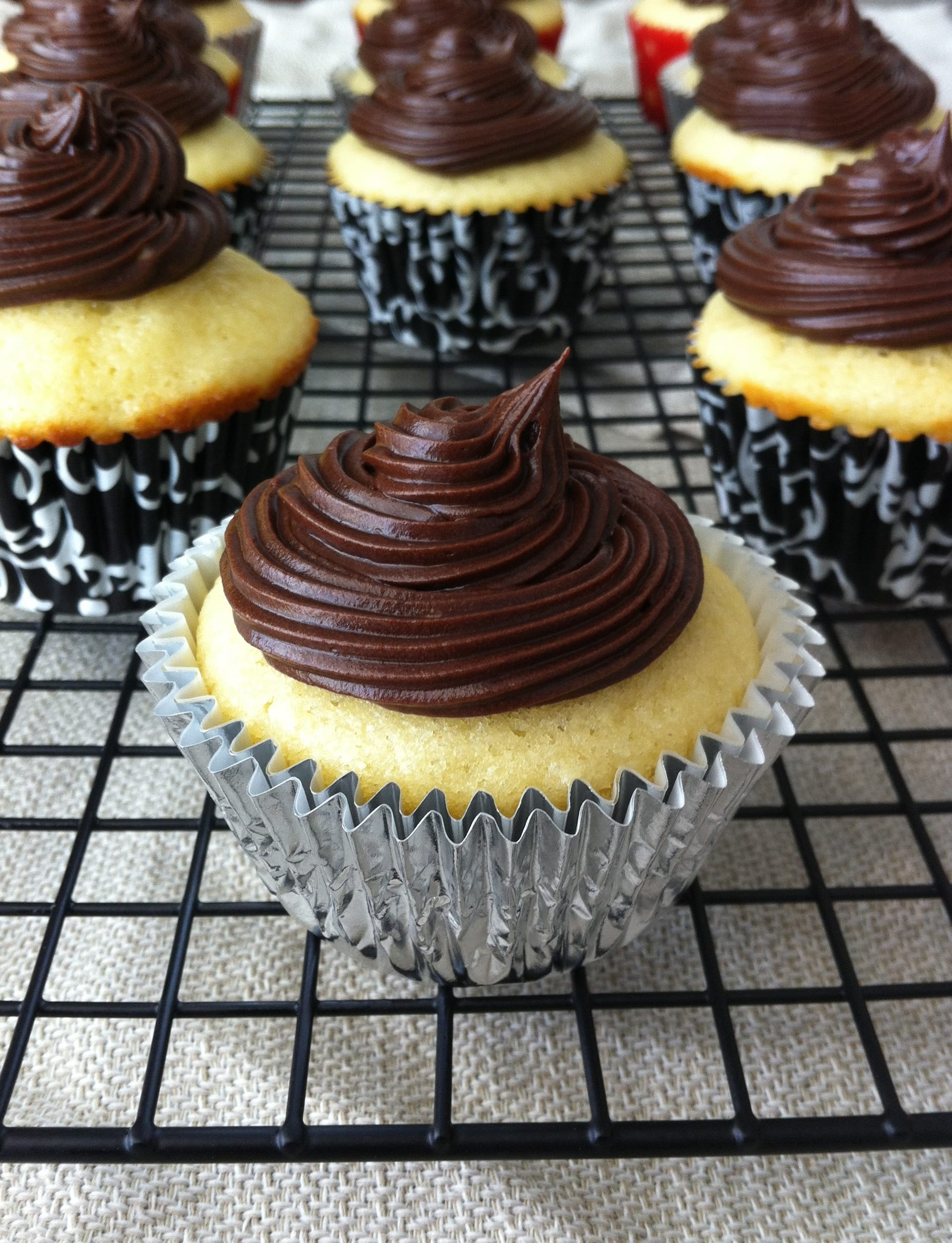 Yellow Cupcakes & Chocolate Icing