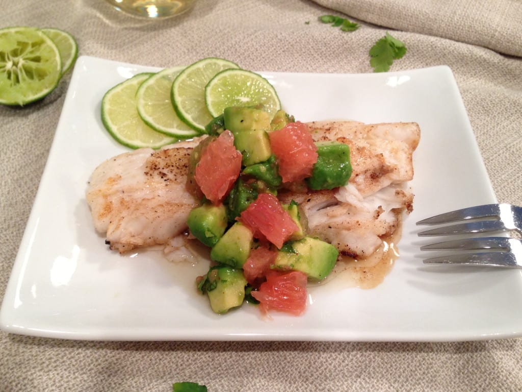 Pan Seared Turbot with Grapefruit-Avacado Salsa