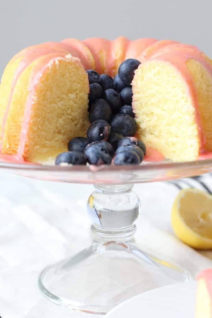 Lemon Pound Cake with Fresh Strawberry Icing