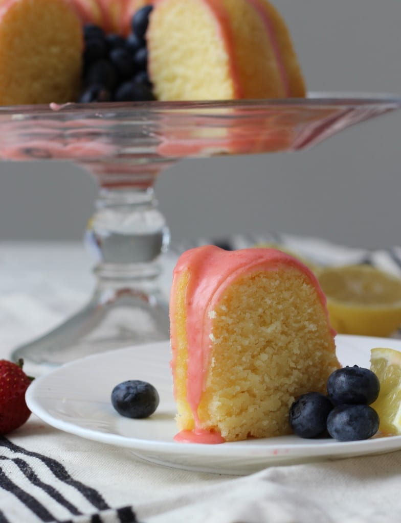 Lemon Pound Cake with Fresh Strawberry Icing