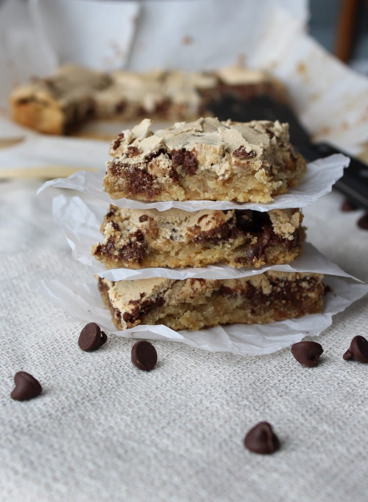 Chocolate Halfway Bars - A decadant bar with a  blondie base with chocolate chips and a meringue topping