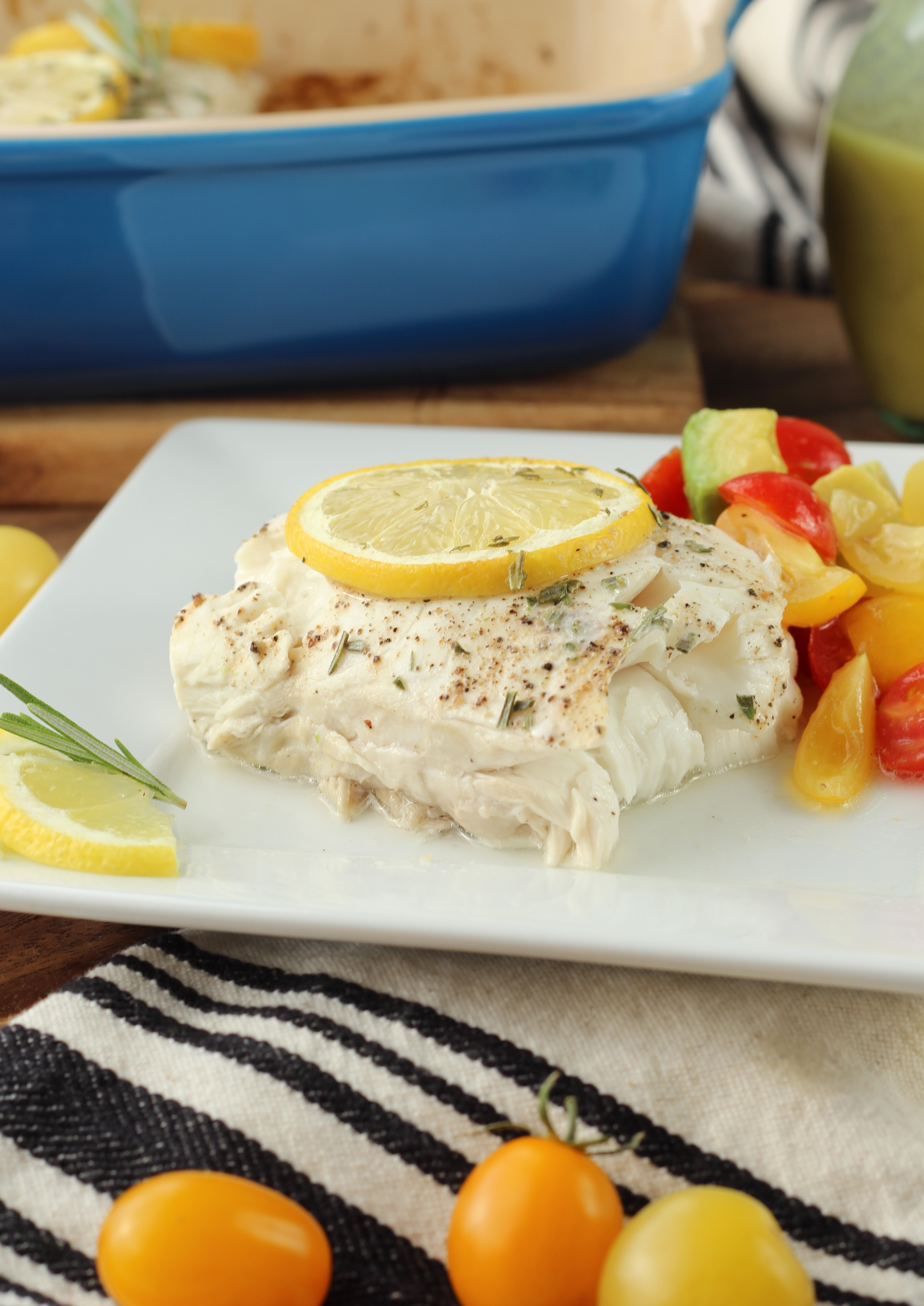 Baked Halibut with Champagne Vinaigrette