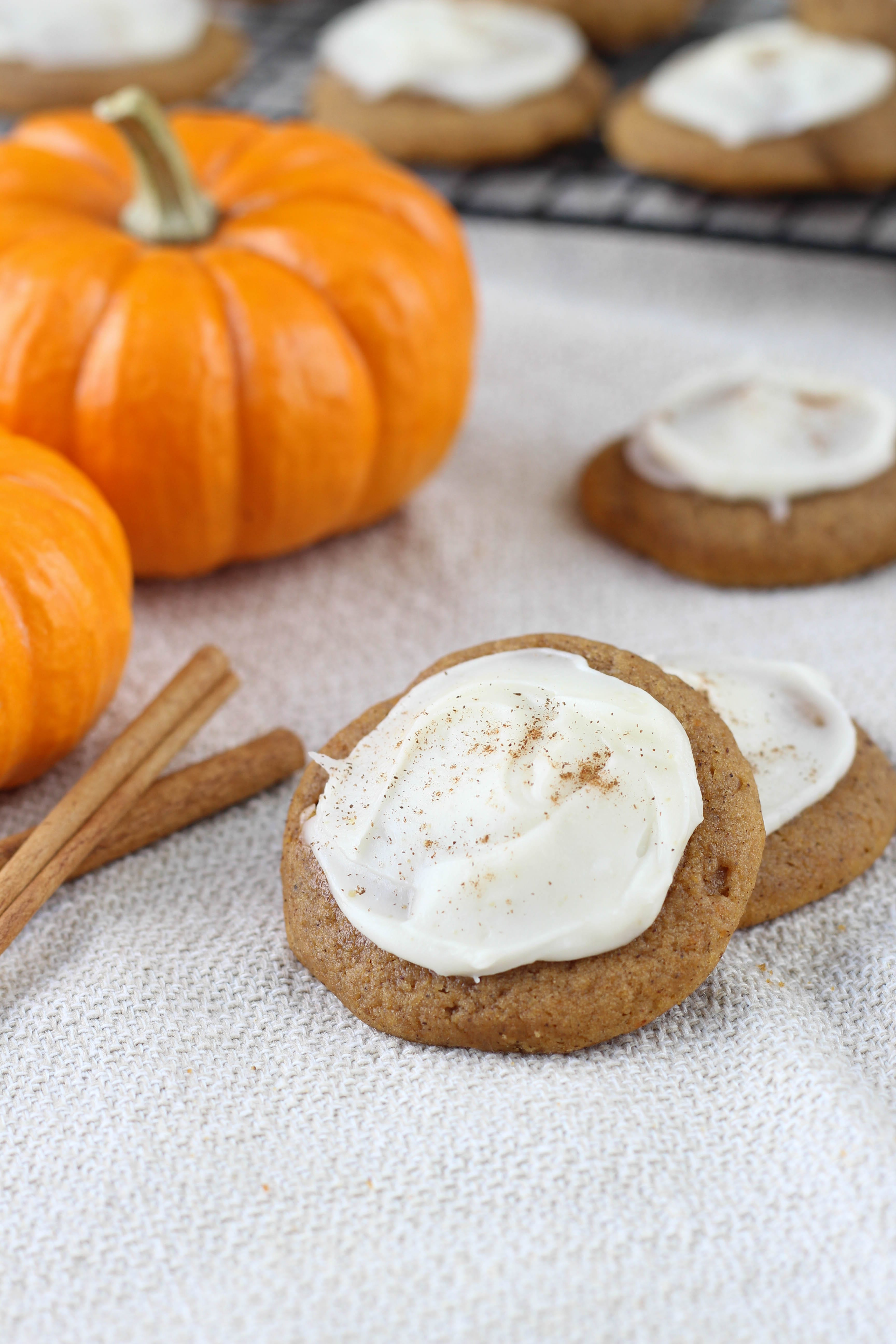 Chewy Chocolate Chip Pumpkin Cookies with Brown Butter Icing