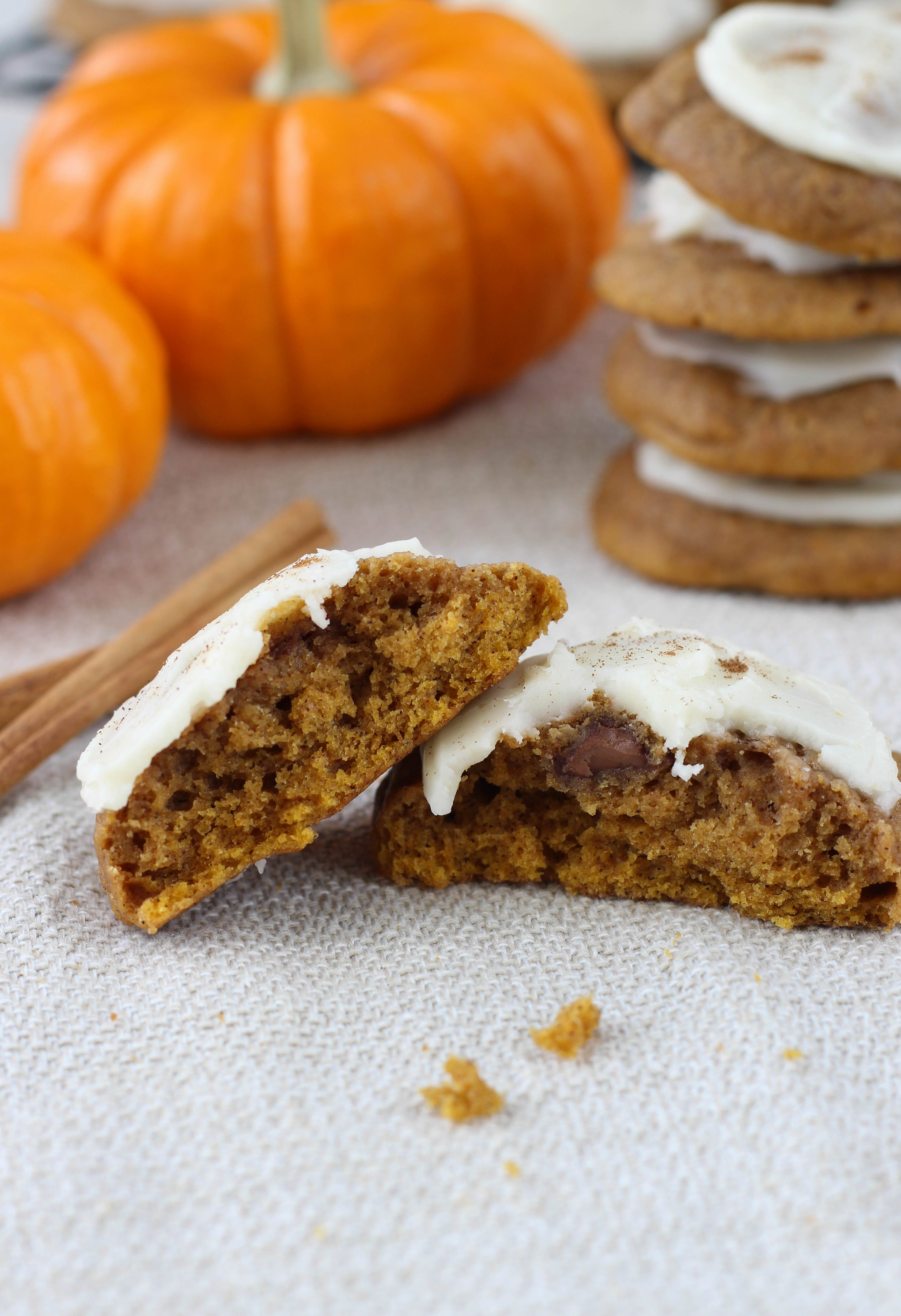Chocolate Chip Pumpkin Cookies with Brown Butter Icing