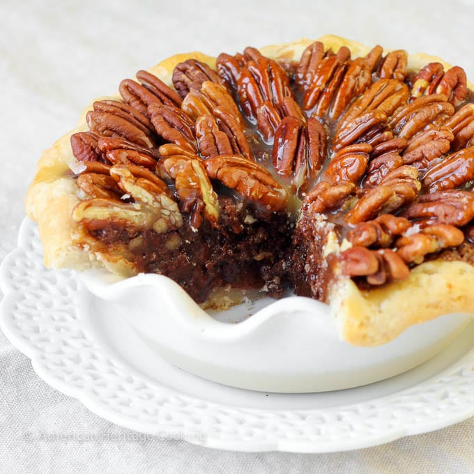 Salted Caramel Chocolate Pecan Pie | Pure decadence! You'll love this sweet Southern twist on a pecan pie!