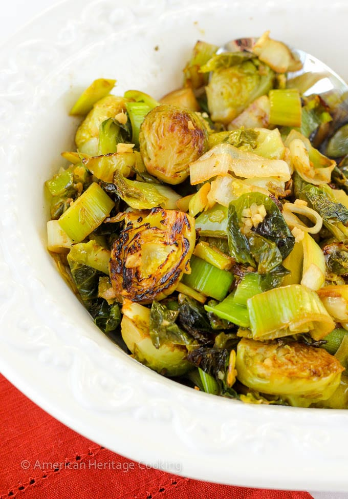 Ginger Lime Brussels Sprouts and Leeks
