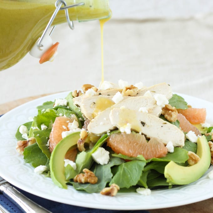 Grapefruit, Kale, Chicken, Avocado Power Salad with Champagne Vinaigrette