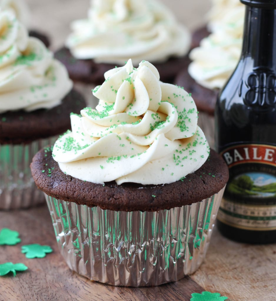 Guinness Chocolate Cupcakes with a Salted Caramel Filling topped with ...