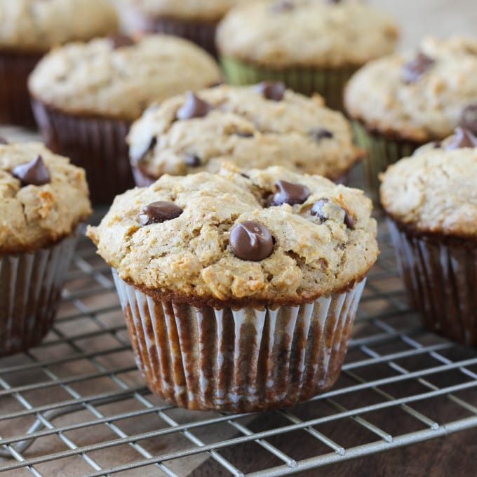 ... Healthy Peanut Butter Chocolate Chip Muffins are waistline friendly