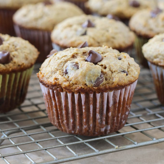 These easy Peanut Butter Chocolate Chip Muffins are healthy and ...