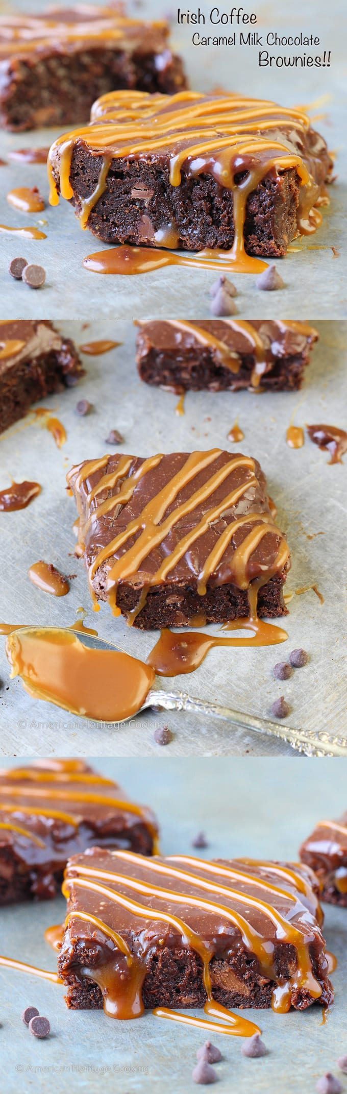 This Bailey's Irish Coffee Caramel Milk Chocolate Brownie is a decadent, fudgy double chocolate coffee brownie with salted caramel inside and drizzled on top of the Bailey's ganache!