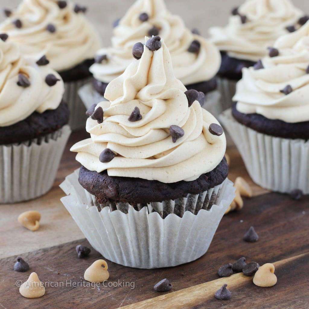 Peanut Butter Stuffed Double Chocolate Banana Cupcakes with Peanut Butter Frosting