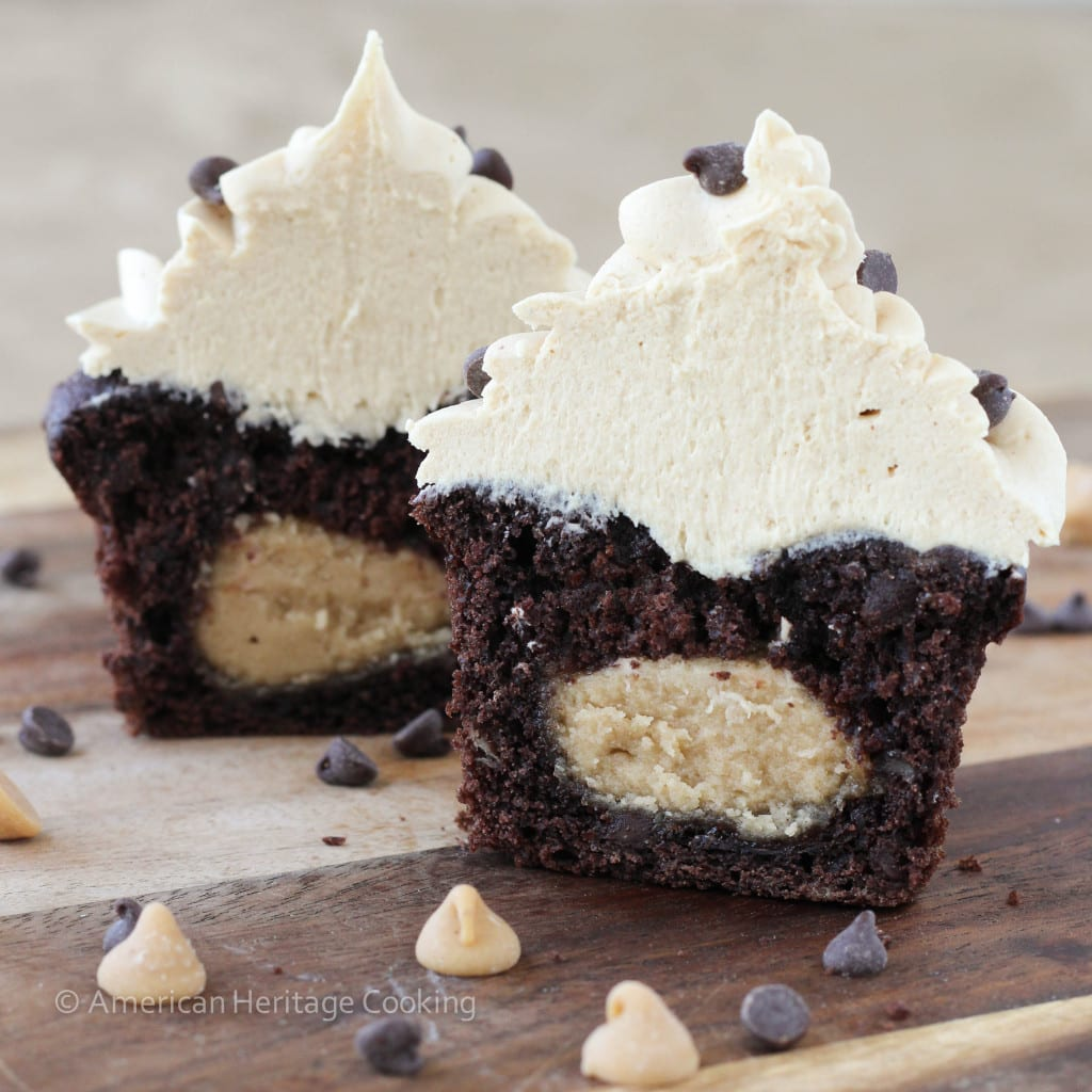 ... Stuffed Double Chocolate Banana Cupcakes with Peanut Butter Frosting
