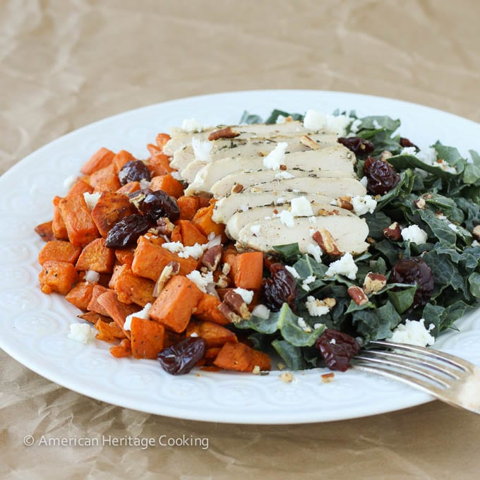 Roasted Sweet Potato Kale Salad