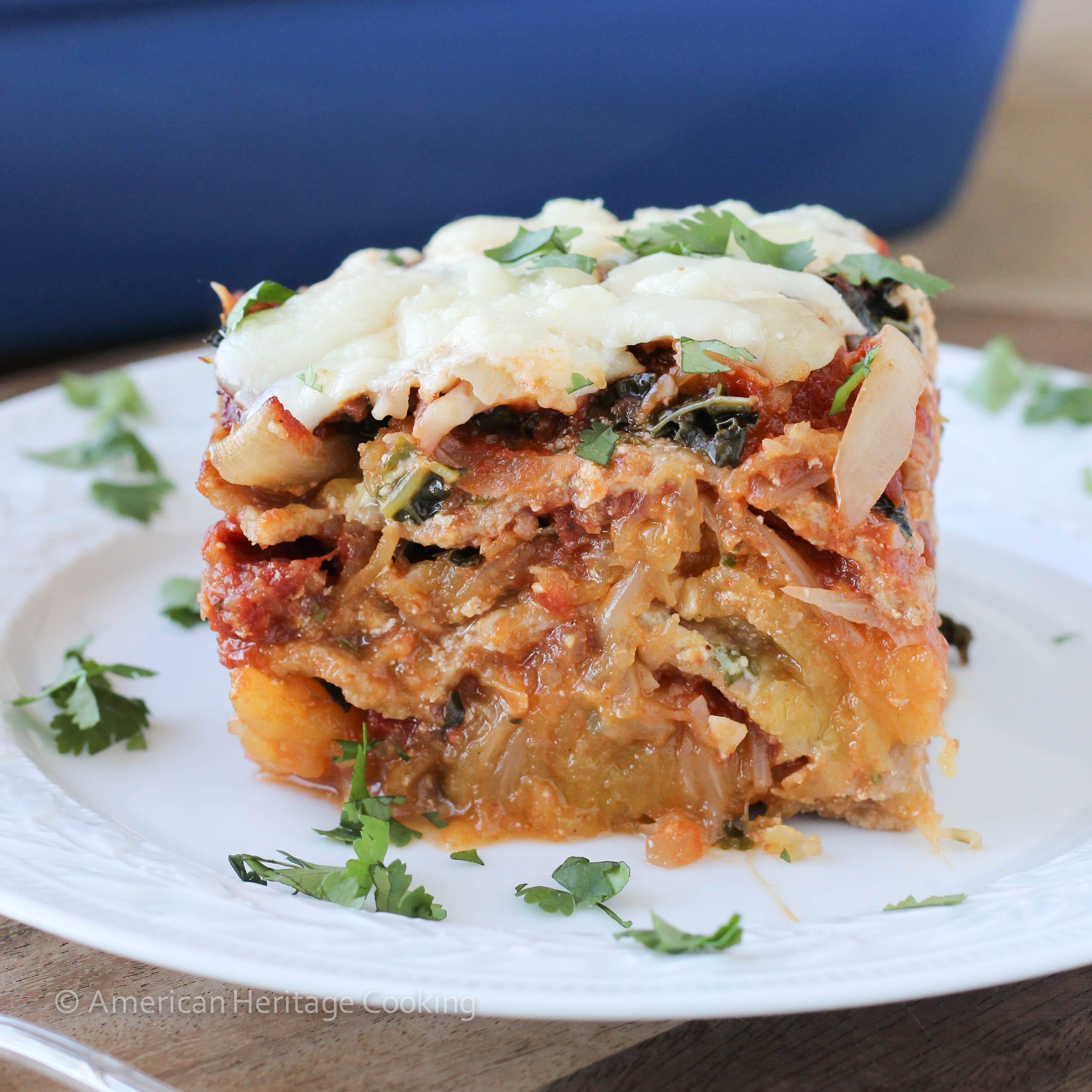 This Spaghetti Squash Kale Lasagna is flavored with bright cilantro ...