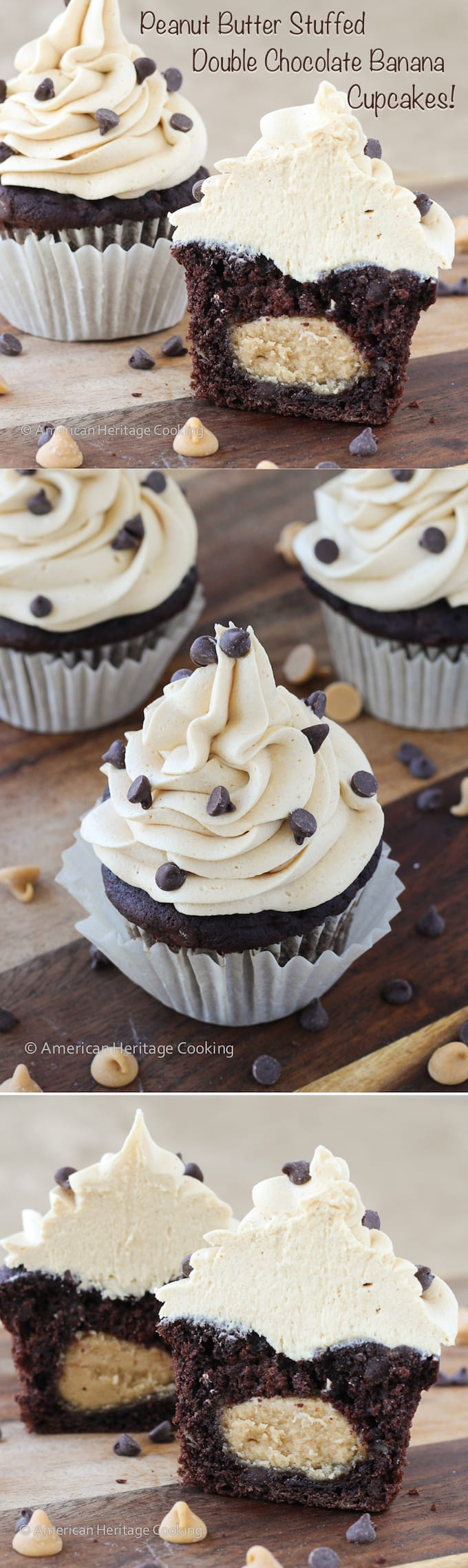 Double Chocolate Banana Cupcakes Stuffed With Peanut Butter