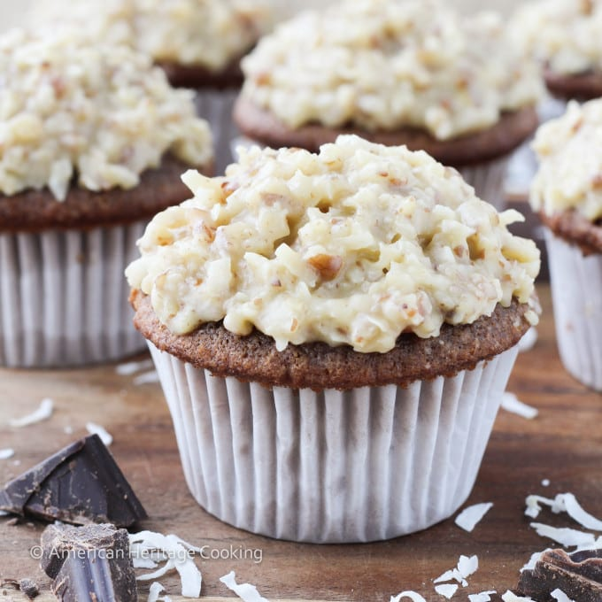 German Chocolate Cupcakes with German Chocolate Ganache Filling
