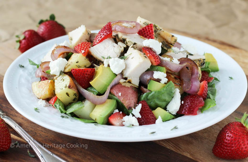Grilled Onion Roasted Potato Strawberry Spinach Salad