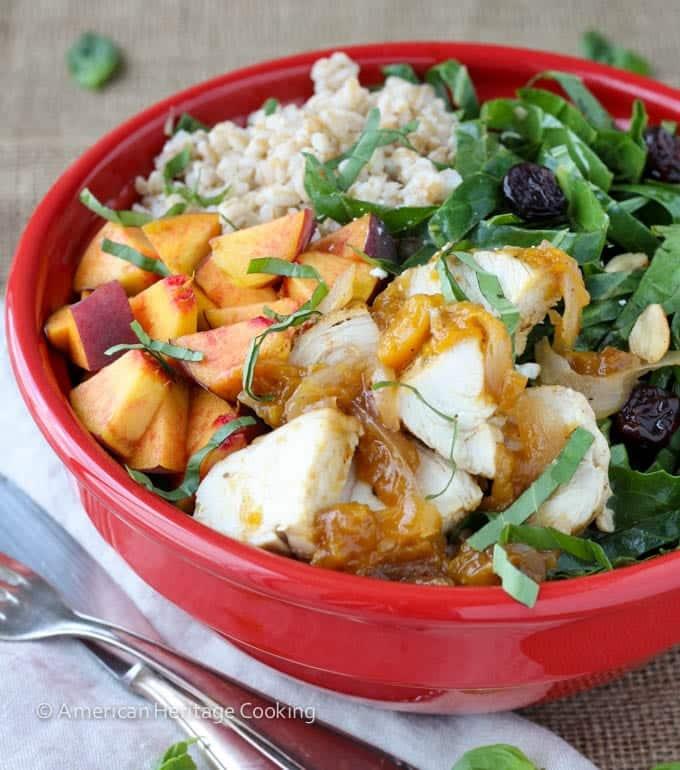 Collard Green Salad with Vidalia Onion Peach Glazed Chicken