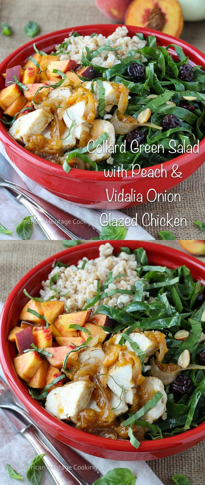 Collard Green Salad with Vidalia Onion Peach Glazed Chicken