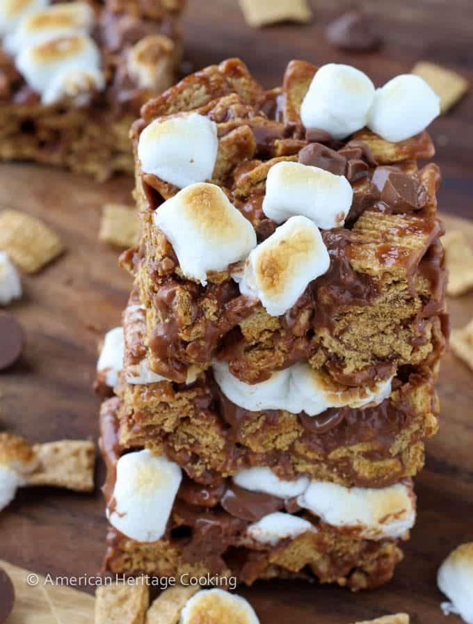 No Bake Toasted Marshmallow Golden Graham Bars