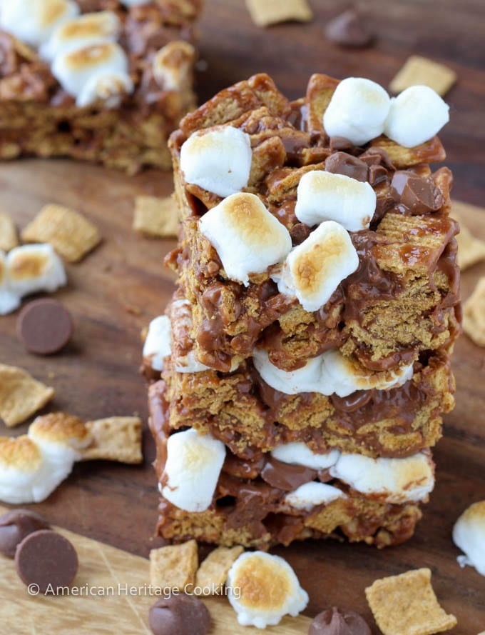 No Bake Toasted Marshmallow Golden Graham Bars