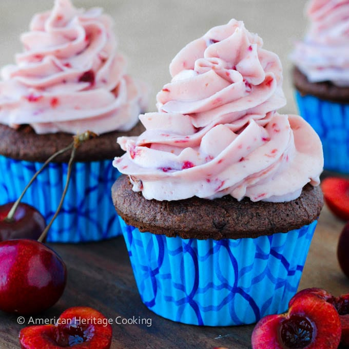 Double Chocolate Cupcakes Cherry Mascarpone Frosting