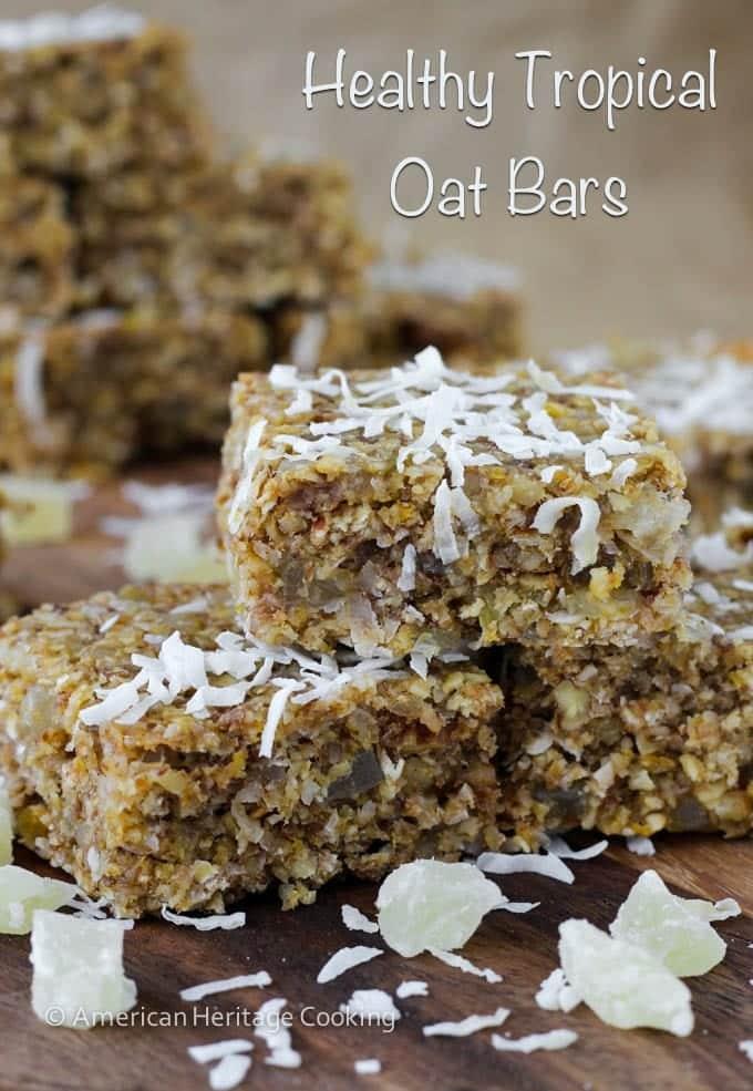 Healthy Tropical Oat Bars {Vegan, GF}