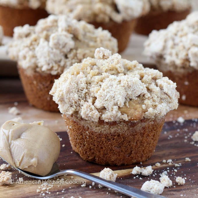 Peanut Butter Banana Muffins with Peanut Butter Streusel Topping