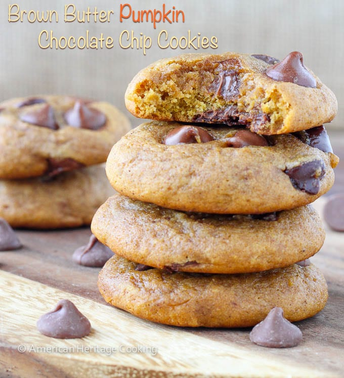 Brown Butter Pumpkin Chocolate Chip Cookies