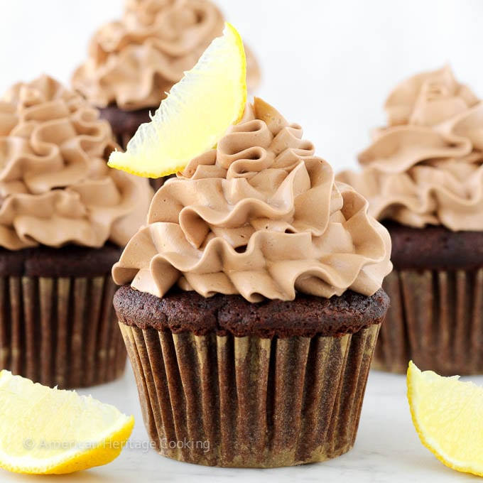 Double Chocolate Lemon Surprise Cupcakes
