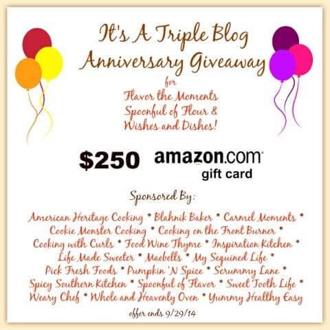 Triple Blog Anniversary $250 Amazon Gift Card Giveaway!