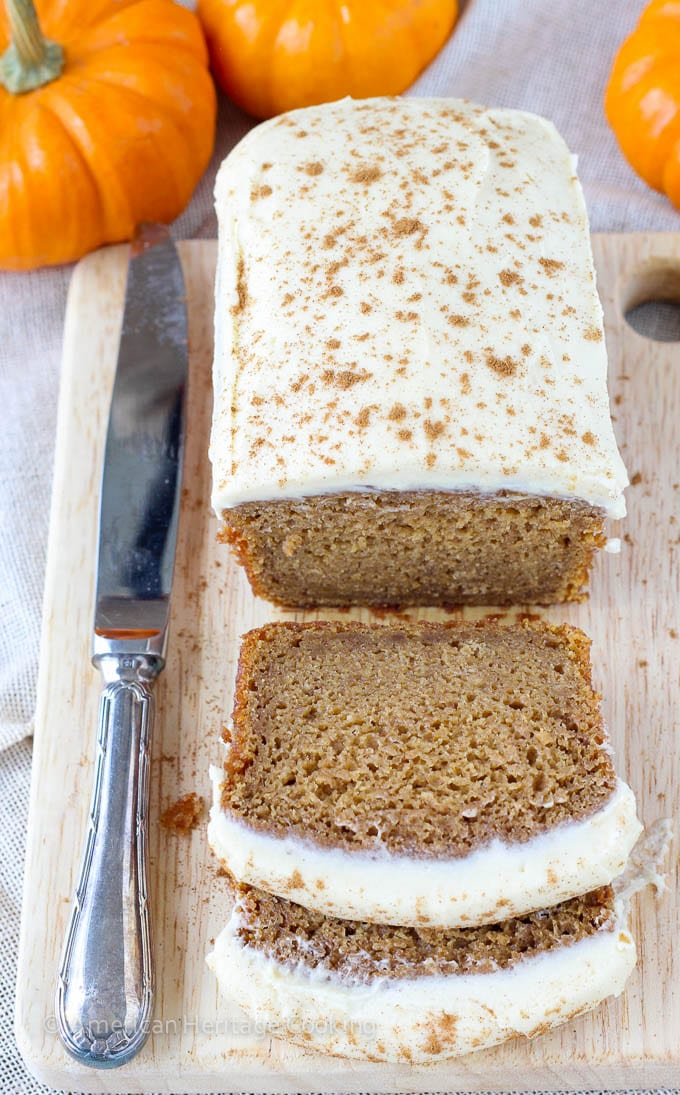 Healthier Pumpkin Banana Bread with Maple Caramel Cream Cheese Frosting