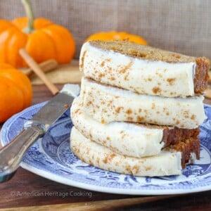 Healthier Pumpkin Banana Bread with Maple Caramel Cream Cheese Frosting