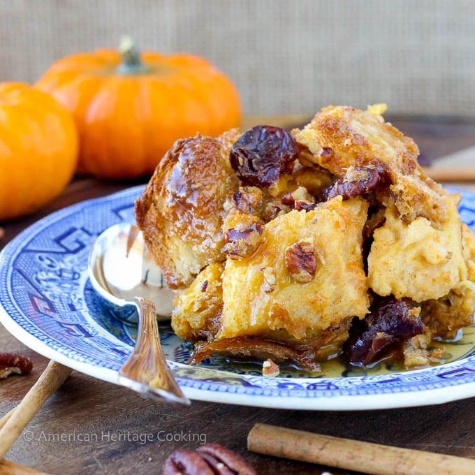 Easy Pumpkin Spice Bread Pudding with Maple Bourbon Cream Sauce
