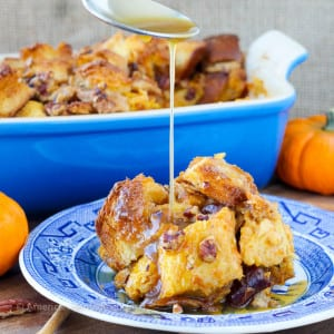 Easy Pumpkin Spice Bread Pudding with Maple Bourbon Cream Sauce