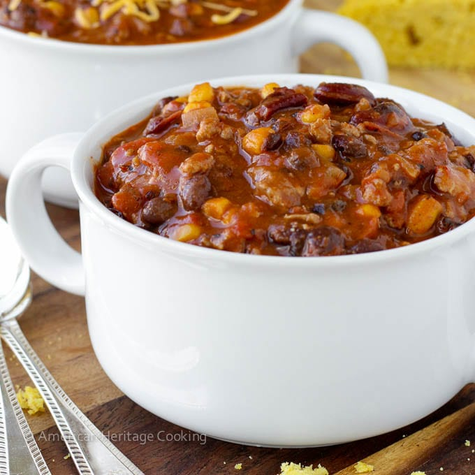 Healthy Chipotle Chicken Chili with Shaker Cornbread   Gluten Free Meals   American Heritage Cooking