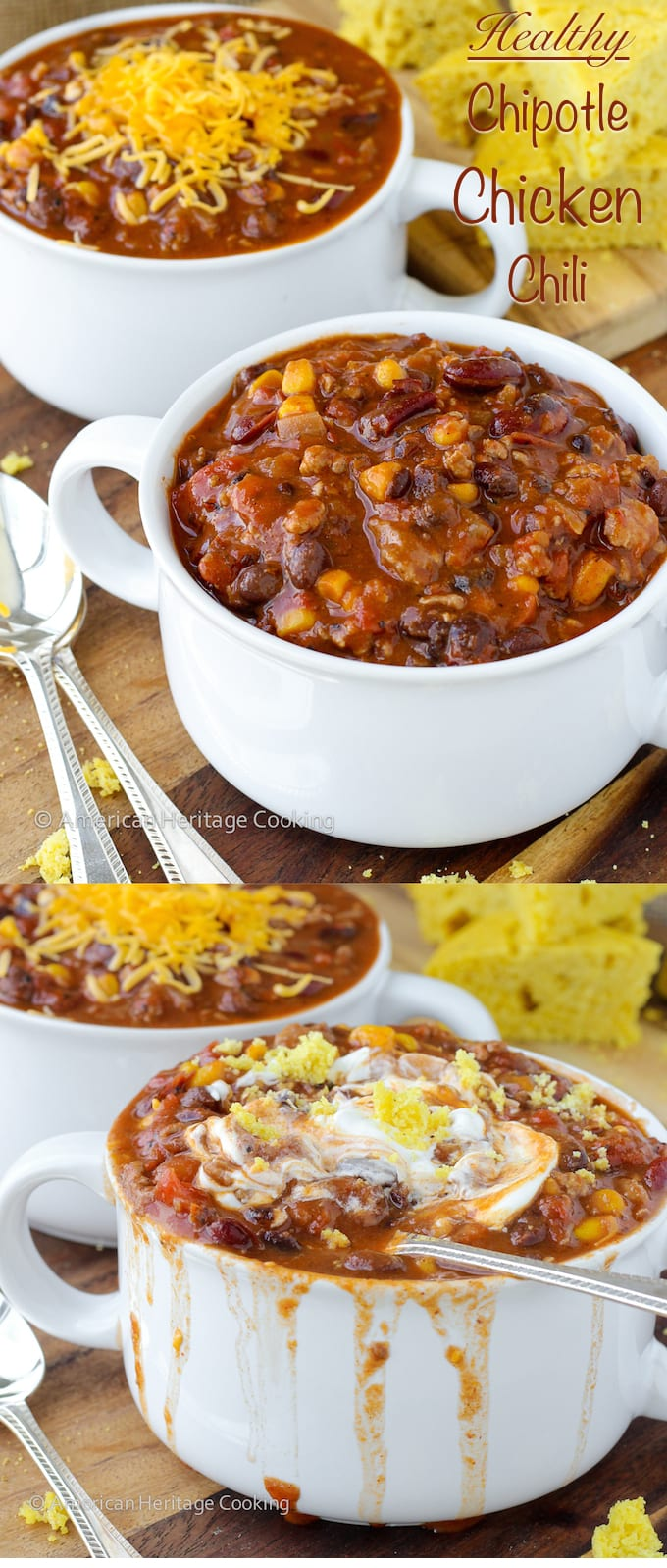 Healthy Chipotle Chicken Chili with Shaker Cornbread | Gluten Free Meals | American Heritage Cooking