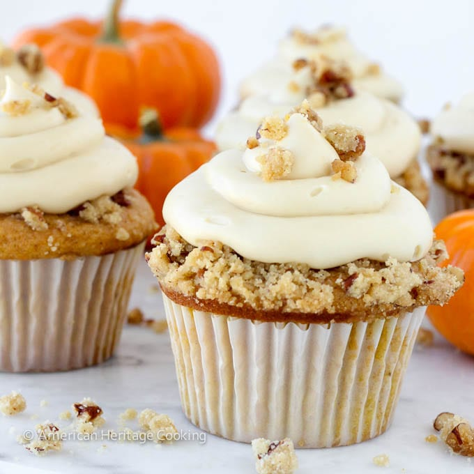 Pumpkin Pecan Pie Cupcakes {Bourbon Brown Sugar Cream Cheese Frosting}