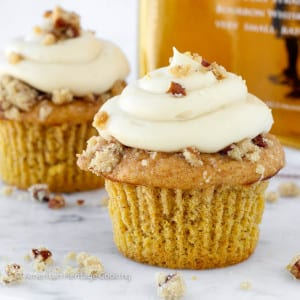 Pumpkin Pecan Pie Cupcake with Bourbon Brown Sugar Cream Cheese Frosting