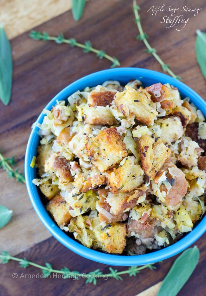 This easy Apple Sage Sausage Stuffing recipe will be a sure hit! The ...