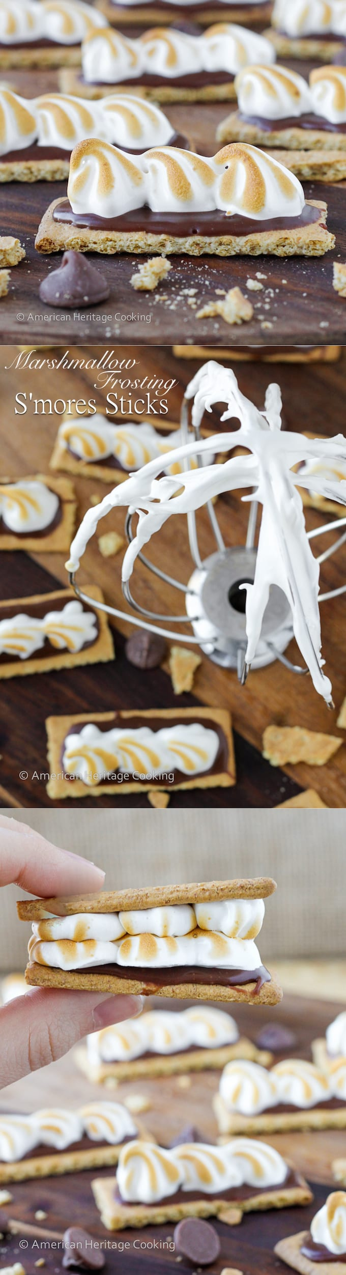 Homemade Marshmallow Frosting Smores Sticks   An easy, gelatin-free, recipe for marshmallow frosting and adorable, bite-sized S'mores snacks!