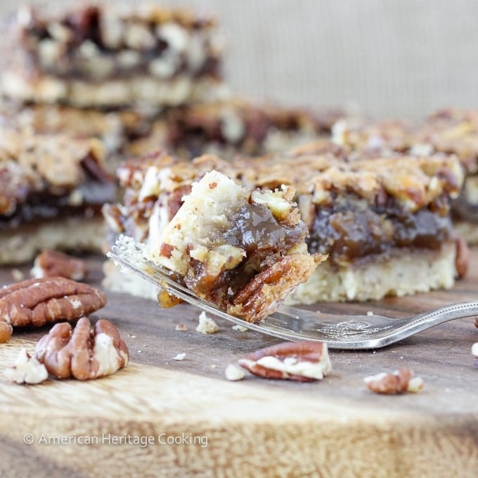 Maple Pecan Pie Bars with Pecan Shortbread Crust | Easier than pie! But just as delicious!