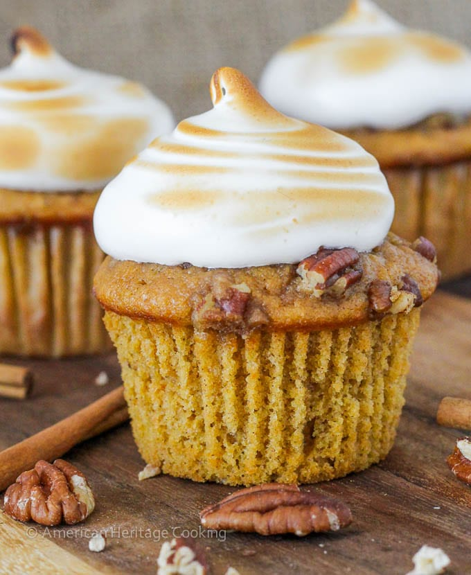 Sweet Potato Casserole Cupcakes with Homemade Marshmallow Frosting | Everything you love about sweet potato casserole in an adorable cupcake!!