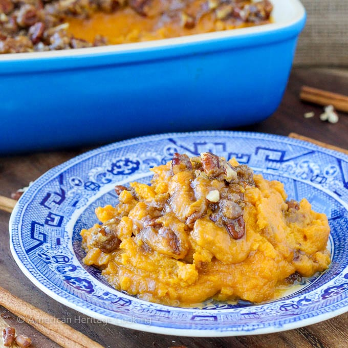 An easy recipe for Sweet Potato Casserole Lightened Up! Still packed with brown sugar, buttery goodness but with half the calories!