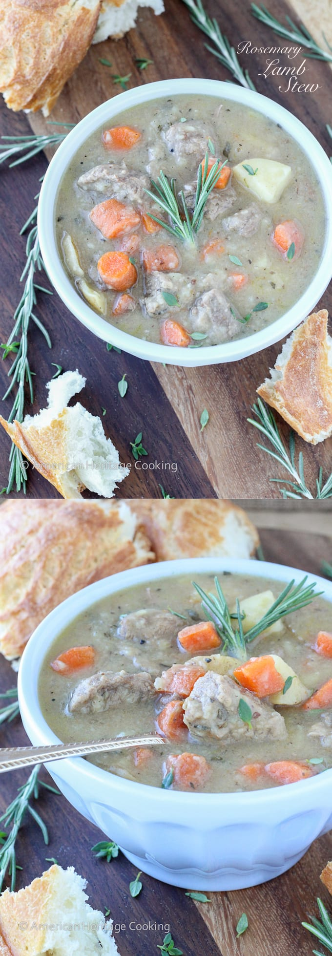 A hearty Rosemary Lamb Stew recipe to warm you up this winter! Filling and healthy!
