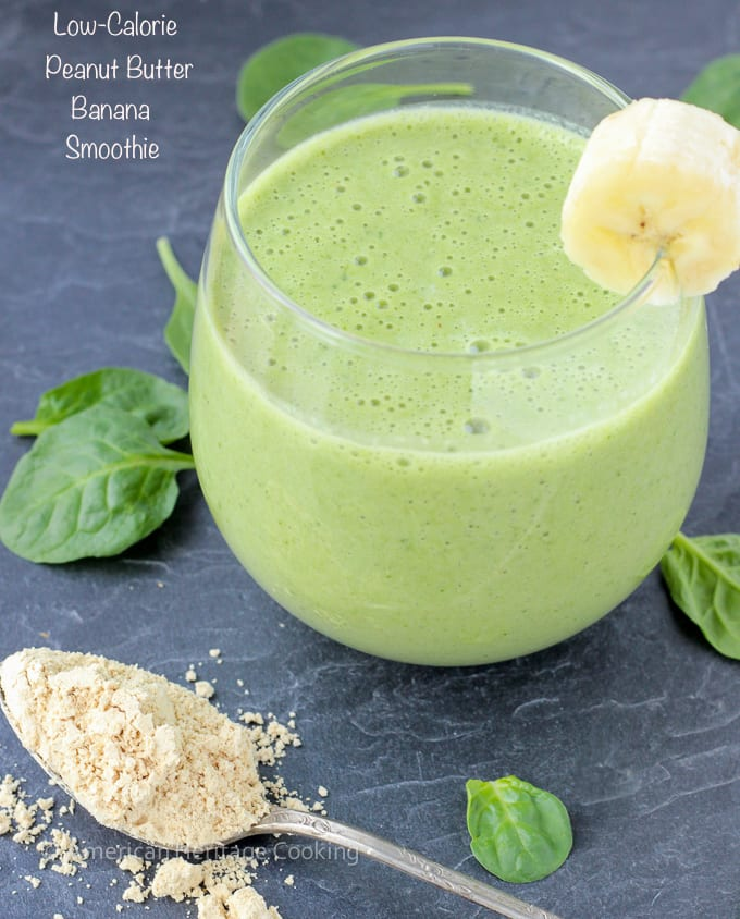 Low Calorie Peanut Butter Banana Spinach Smoothie